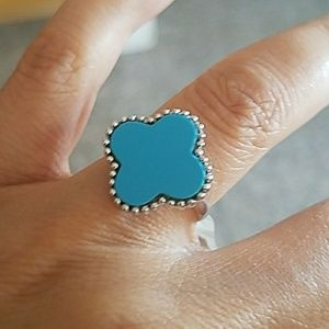 Sterling silver Blue Clover Ring size 5 6 7 8 9